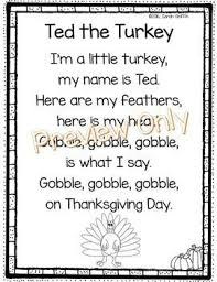 ted the turkey thanksgiving poem poems thanksgiving