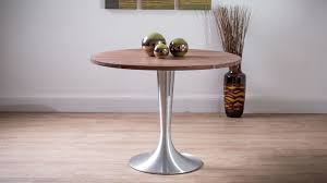 solid walnut dining table large round solid walnut dining table brushed aluminium flute pedestal