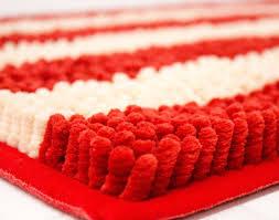 Red Bath Rug Soft Stripe Chenille Yarn Bath Mat Bathroom Rug Latex Spray