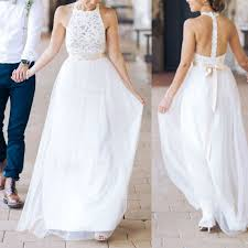 halter wedding dresses simple white a line halter sleeveless lace bridesmaid dress