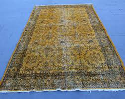 Over Dyed Distressed Rugs Yellow Overdyed Rug Etsy