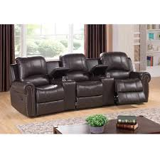 Home Theater Chair Walden Three Seat Brown Top Grain Leather Recliner Home Theater