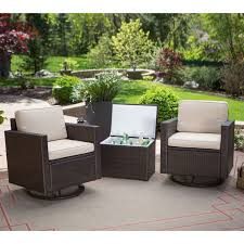 Cooler Patio Table Outdoor Wicker Resin 3 Patio Furniture Set With 2 Chairs And