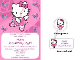 hello kitty ballerina birthday invitations w address labels and