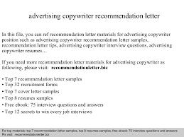 Copywriter Resume Sample by Advertising Copywriter Recommendation Letter