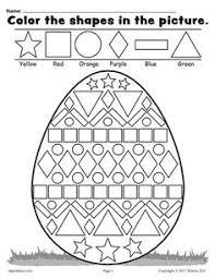 free easter egg shapes worksheet u0026 coloring page the shape