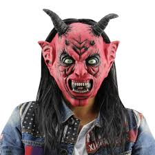 masquerade halloween costume sale horror funny red eyes satan devil latex mask with wig ox horn