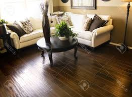 Living Room With Dark Brown Sofa by Scroll Arm Bench Fiber Cover Wooden Legs In The Room Yellow