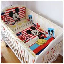 Mickey Mouse Crib Bedding Sets Promotion 6pcs Bed Set For 100 Cotton Baby Bedding Sets
