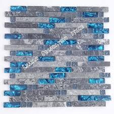 sea blue glass tile kitchen backsplash grey marble tile stone