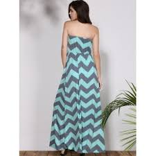 chevron maxi dress light blue m bohemian strapless chevron maxi dress rosegal