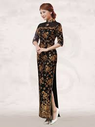 black and gold dress sequins gold floral black lace half sleeve mandarin collar dress
