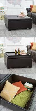 gray leather ottoman coffee table living room storage ottoman and coffee table round storage