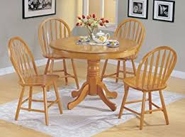 Amazoncom Pc Country Style Oak Finish Wood Round Dining Table - Round dining room tables for 4