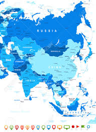 Asia Map by Asia Map Highly Detailed Vector Illustration Image Contains