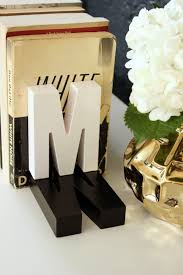 monogram bookends fabric paper glue diy shadow monogram bookends decorate home