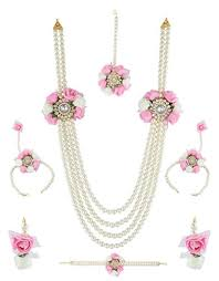 flower jewellery anuradha pink white colour multi layer styled with