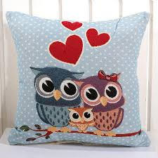 Factory Direct Home Decor Cheap Pillow Cushion Cover Buy by Cartoon Owl Style Pillow Case Colorful Birds Leaf Pillow Cover