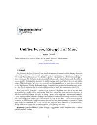unified force energy and mass pdf download available