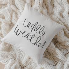 throw pillow cuddle weather calligraphy home decor