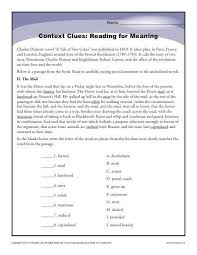 best solutions of context clues worksheets middle for
