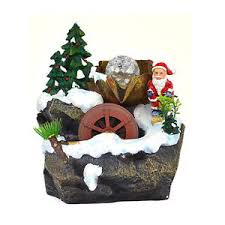 chirtmas santa claus snow tree indoor tabletop water fall