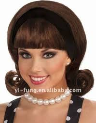 1950s headband 1950s wig w detachable headband brown hair wigs buy hair