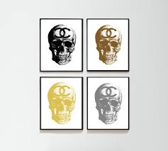 insomniacs attic i bid you velcome what have to leave now so soon popular items for skull home decor on etsy chanel print set art of 4 watercolor pinkskull