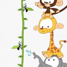 baby animal height chart wall sticker for kids vinyl impression baby jungle height chart wall stickers vinyl impression