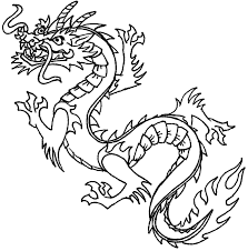 black and white dragon line art clip art library