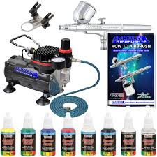 master airbrush 6 color kit compressor hose airbrush paint
