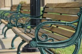 free stock photo of metal u0026 wood park benches in row
