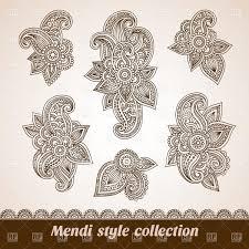 oriental design set of six floral oriental design elements royalty free vector clip