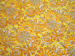 Block Print Wallpaper Print Cotton Fabric Mustard Yellow Color