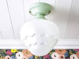 milk glass kitchen lighting art deco rewired vintage milk glass schoolhouse semi flush mount
