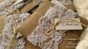 burlap and lace wedding invitations x50 rustic glam country