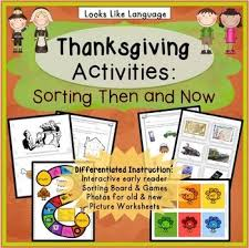 thanksgiving language activities sorting and comparing then and now