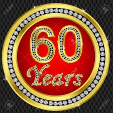 60 years birthday 60 years anniversary golden happy birthday icon with diamonds
