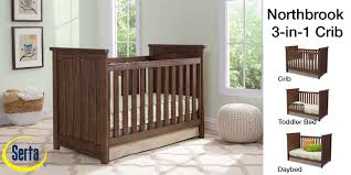Serta Perfect Dream Crib And Toddler Bed Mattress by Amazon Com Serta Northbrook 3 In 1 Convertible Crib Rustic Grey