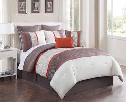 8 piece aruba orange taupe comforter set