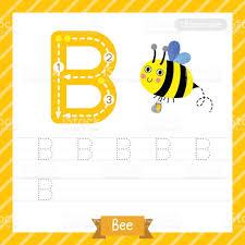 letter b uppercase bee animal tracing worksheet stock vector art