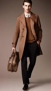 burberry long cottonbonded virgin wool mohair trench coat in brown