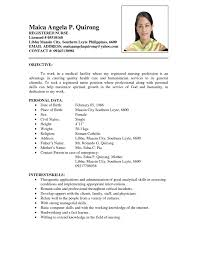 Best Resume Sample For Nurses by Cv Sample For Nursing