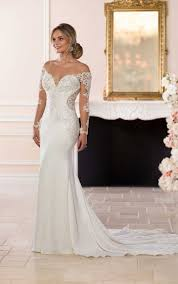 wedding dress with chic off the shoulder sleeves stella york