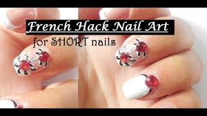 french manicure modified design for short nails youtube