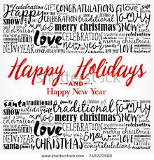 happy holidays background word cloud stock vector