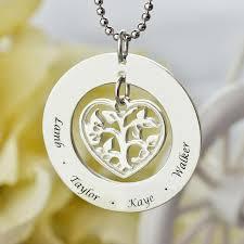 kids name necklaces heart family tree name necklace silver engraved kids name necklace
