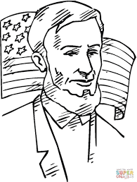 lincoln in front of american flag coloring page free printable