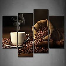 Amazon First Wall Art Brown A Cup Coffee And Coffee Bean