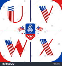 letters set usa style american flag stock vector 434008255